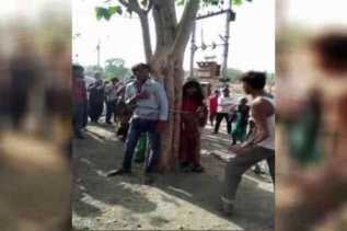 Bawa Lari Istri Orang, Pria dan Dua Gadis Diikat di Pohon dan Dicambuk