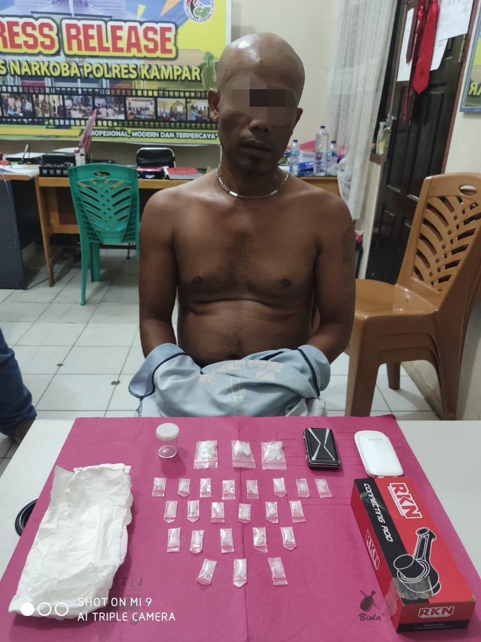 26 Paket Sabu Ditemukan Petugas dari Seorang Pengedar di Wilayah Desa Tanjung Bungo Kampa