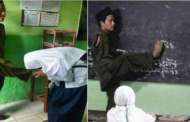 Viral di Medsos! Foto Siswi Cium Kaki Guru Tanpa Tangan