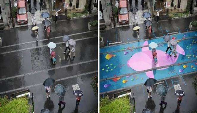 Unik! Jalan Ini Bisa Berubah Warna Ketika Hujan