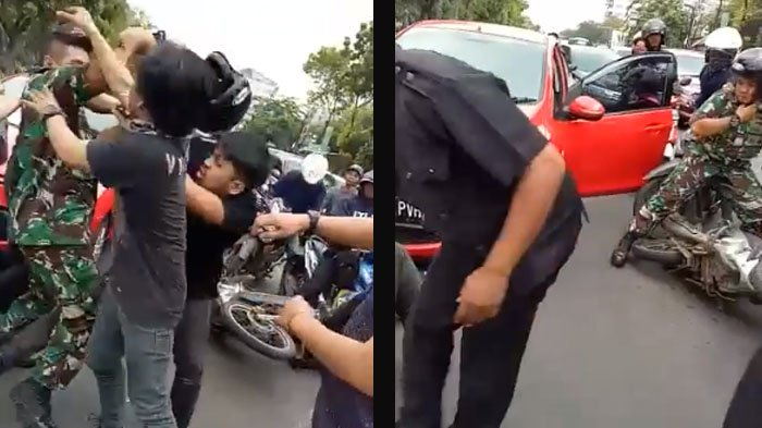 VIDEO: TNI Terlibat Duel di Jalan Raya Dengan Pengguna Jalan lain