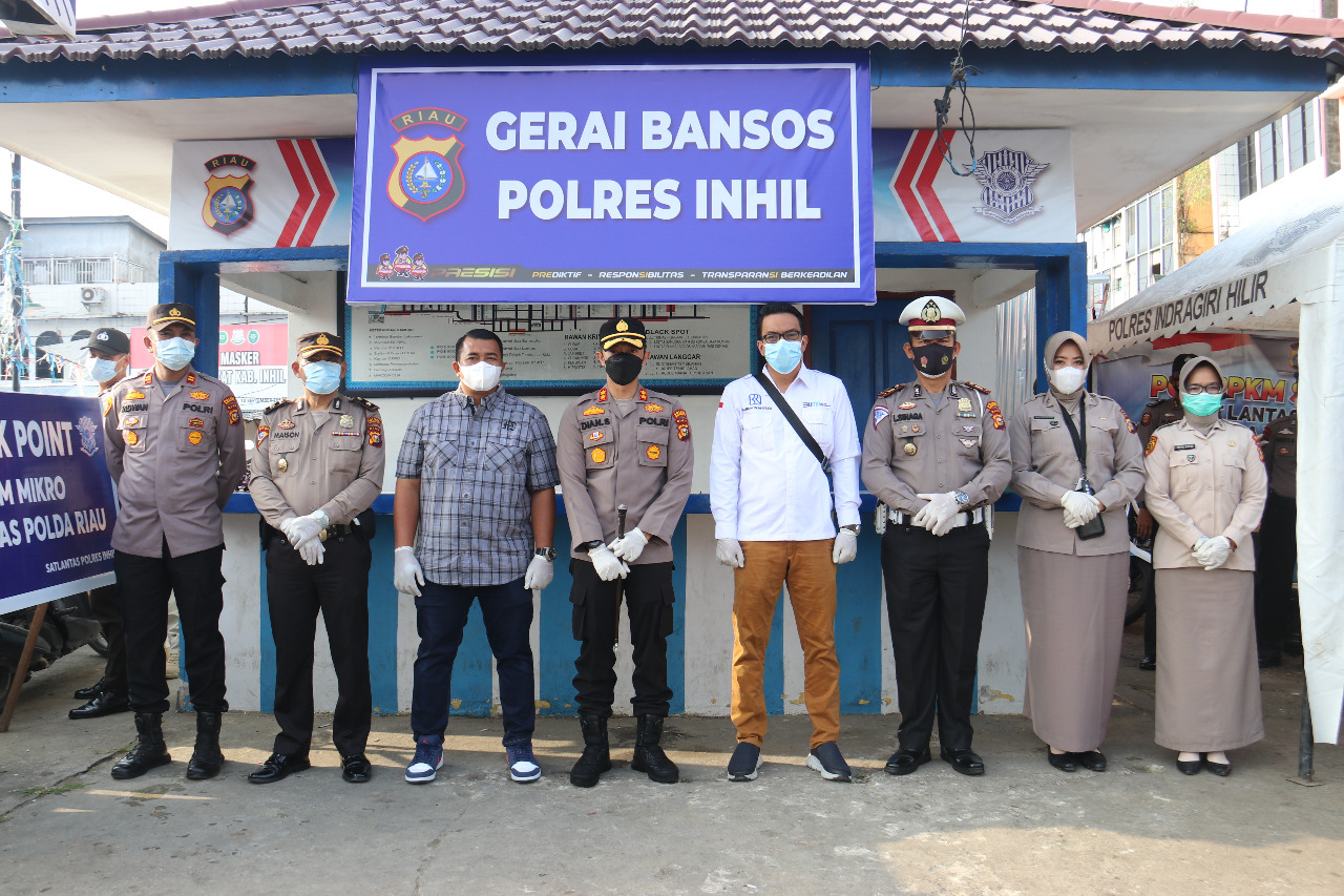 Polres Inhil Gandeng BRI dan PT Putra Sindo Grup Dalam Kegiatan Bansos Di Jumat Barokah