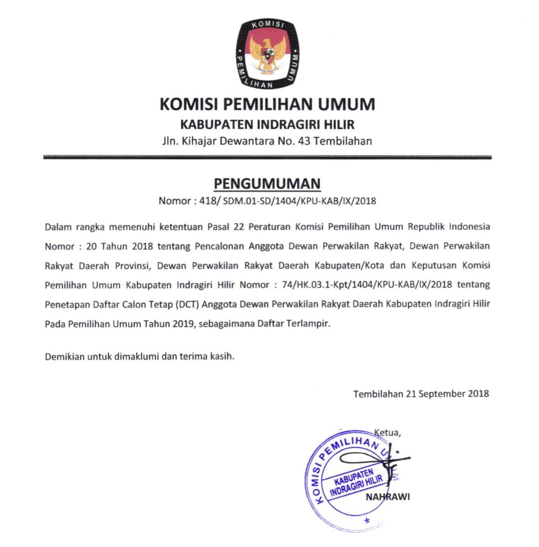 Daftar Calon Tetap (DCT) Anggota DPRD Kabupaten Indragiri Hilir Pemilu 2019