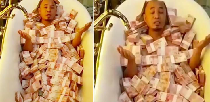 Viral!!! Pria Diguyur Uang Miliaran di Bak Mandi; Ini buat Janda