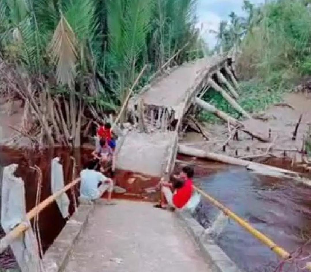 Jembatan Antar Dusun di Desa Seberang Sanglar Kecamatan Reteh Ambruk