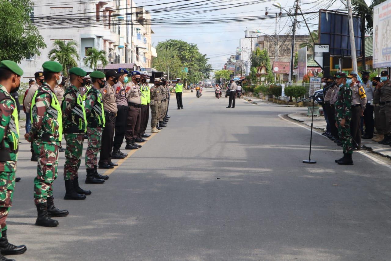 Kerahkan Pasukan Skala Besar,  Tim Satgas Inhil Perketat Disiplin Prokes Covid-19