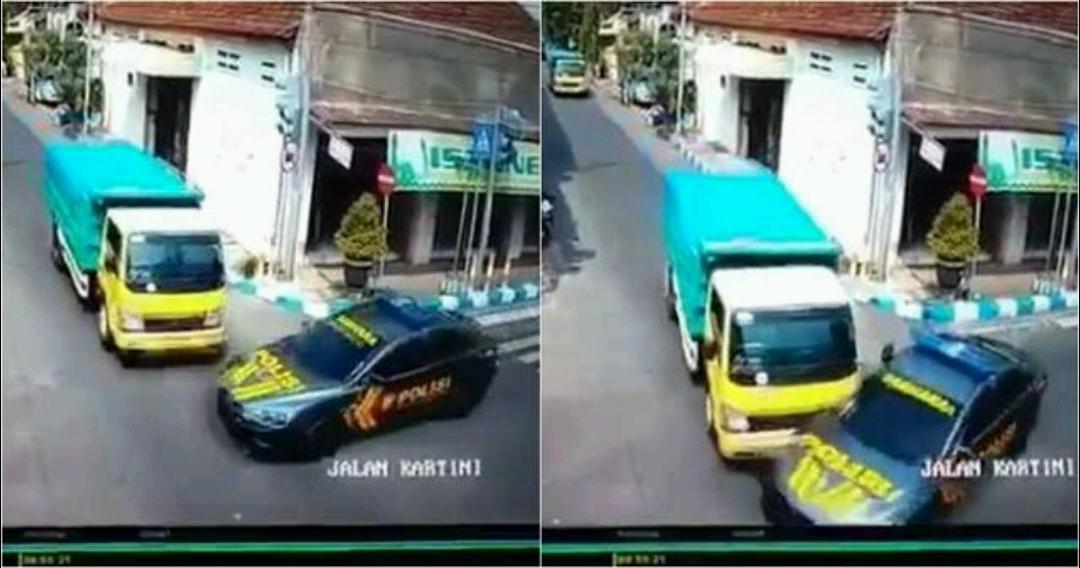 Naas, Truk ini Tabrak Mobil Polisi Pengawal Tahanan di Perempatan
