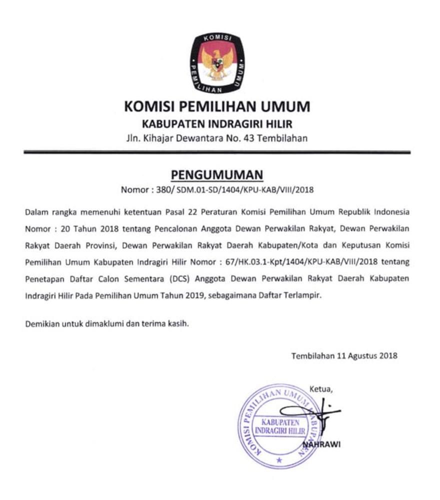Daftar Calon Sementara (DCS) Anggota DPRD Kabupaten Indragiri Hilir Pemilu 2019
