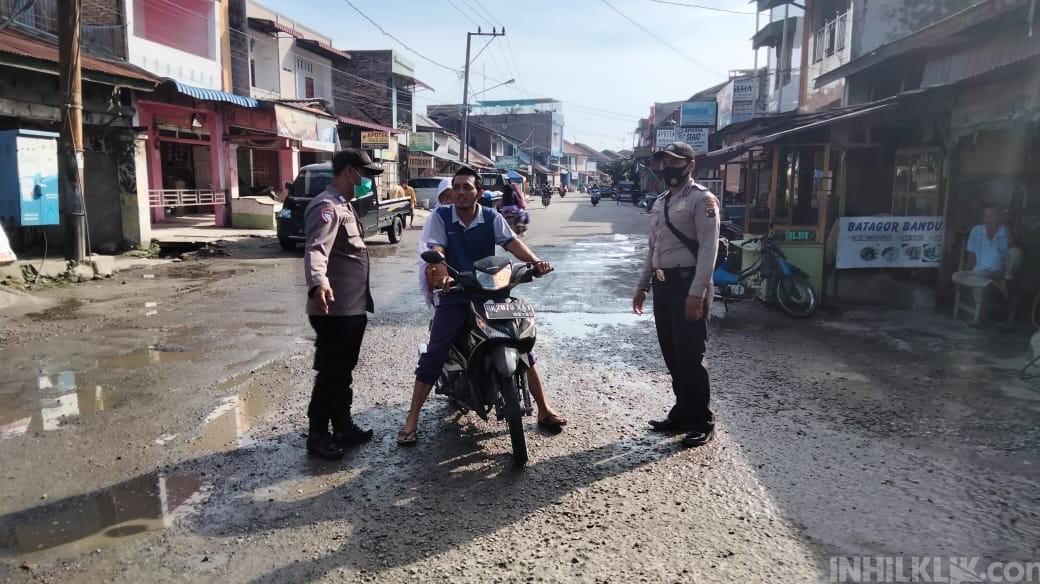 Polsek Pantai Cermin Giat Ops Yustisi Imbau Masyarakat Disiplin Prokes