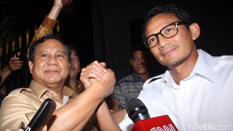 Gerindra Deklarasikan Prabowo-Sandi Hari Ini di Kertanegara