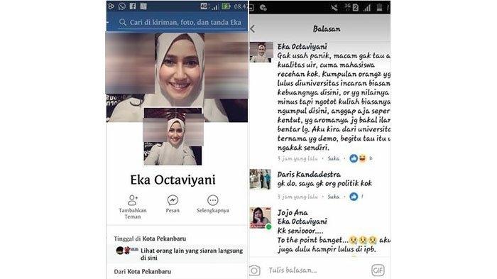 Akun Medsos Eka Octaviyani yang Diduga Lakukan Penghinaan Terhadap UIR 'Lenyap'