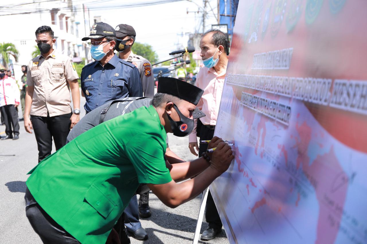 Ansor dan Banser Inhil Ikut Tanda Tangani Deklarasi Damai dan Anti Pelanggaran Protkes
