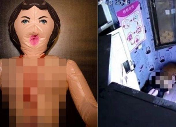 ASTAGAA!!! Pria Terekam CCTV Bobol Toko Dewasa dan Cabuli Boneka Seks