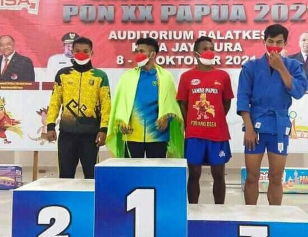Atlet Sambo Asal Inhil Ini Raih Medali Emas di PON XX Papua