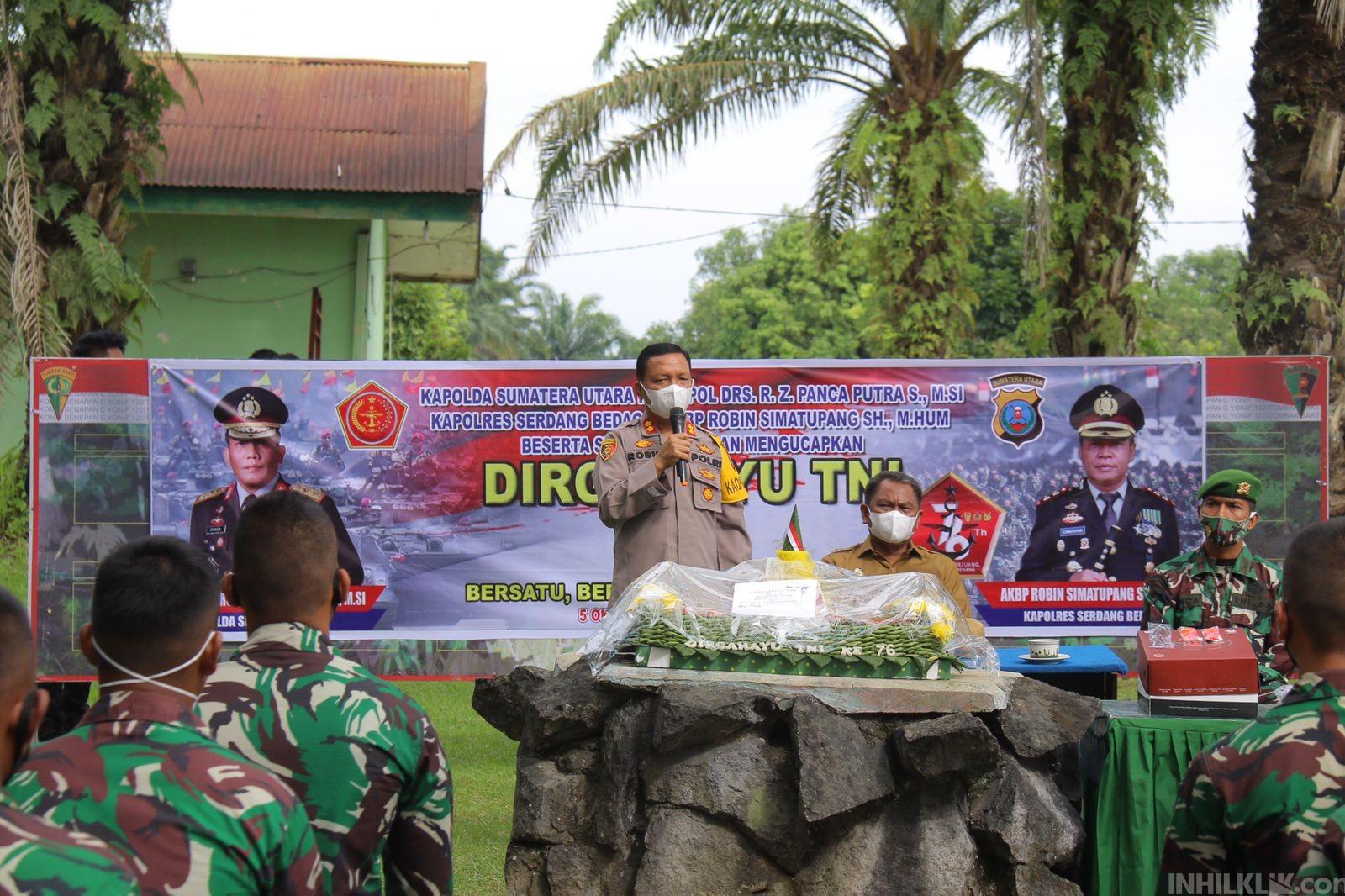 Syukuran HUT Ke-76 TNI, Kapolres Sergai Kunjungi KompoB/C Batalyon 122 TS