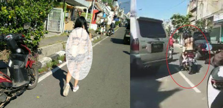 Warga Heboh, Cewek Setengah Telanjang Jalan-jalan di Kota, Ada Videonya!