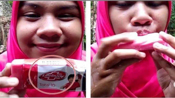 VIRAL!!! Wanita Muda Ini Makan Sabun Mandi Seperti Es Krim