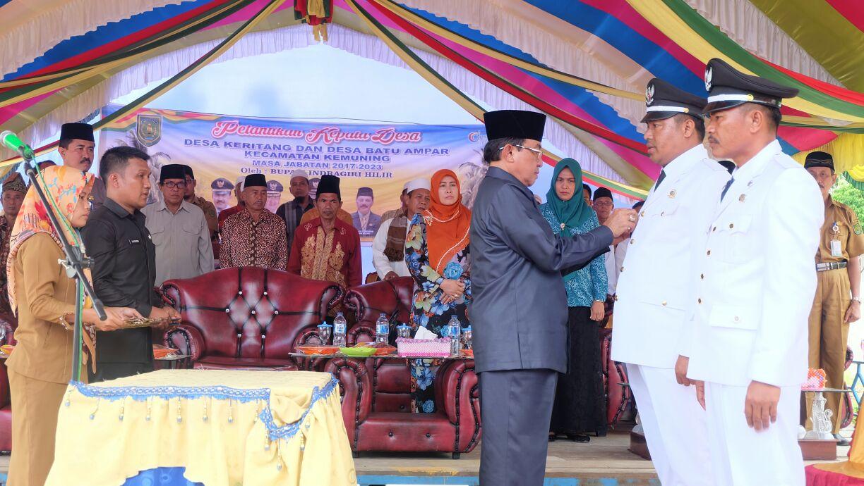 Bupati Inhil Lantik 5 Kades di Dua Lokasi di Kecamatan Kemuning
