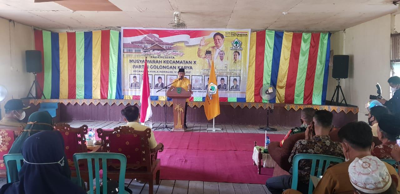 Ketua DPD II Partai Golkar Inhil HM Wardan Membuka Muscam PK Golkar Kuindra