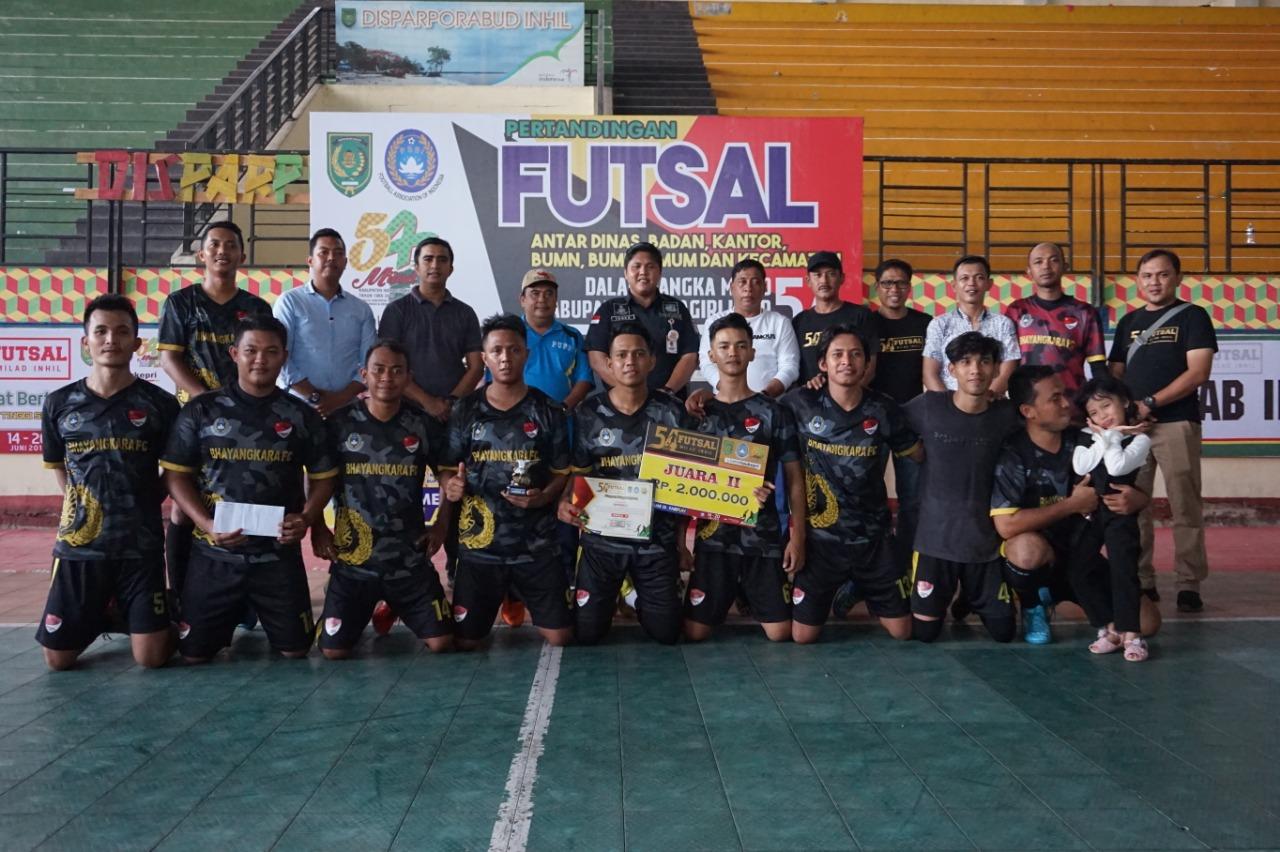 Futsal Cup Milad Inhil ke-54, Polres Inhil Runner Up, Setwan Inhil Juara