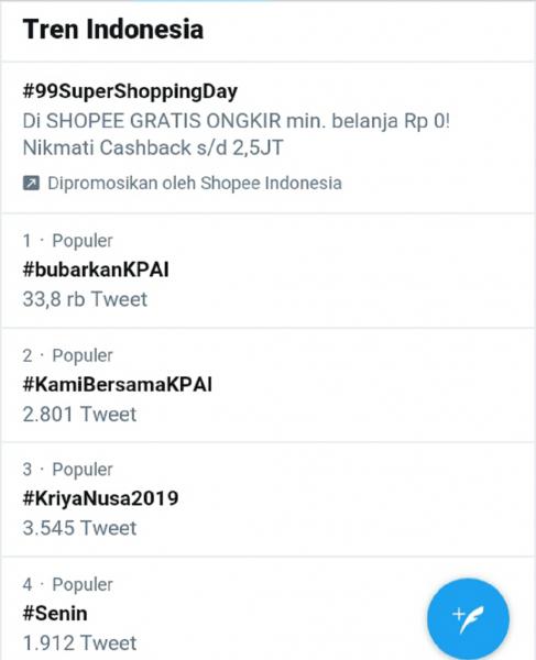 Tagar #bubarkanKPAI Trending di Twitter, Ini Cuitan Netizen