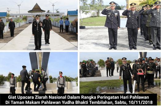 Peringati Hari Pahlawan, Kapolres Inhil Pimpin Upacara Ziarah ke Makam Pahlawan