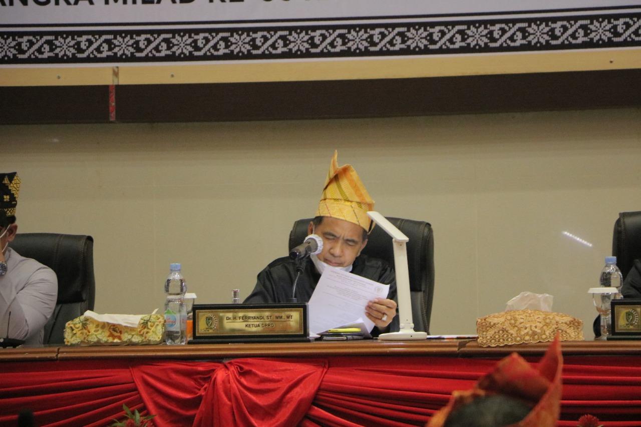 Pimpin Paripurna Milad Inhil ke-56, Ketua DPRD Inhil: Retrosfektif dan Instrofektif