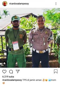 Foto Pemain Timnas Asal Papua Jadi Hansip TPS Pemilu 2019 Ini Viral