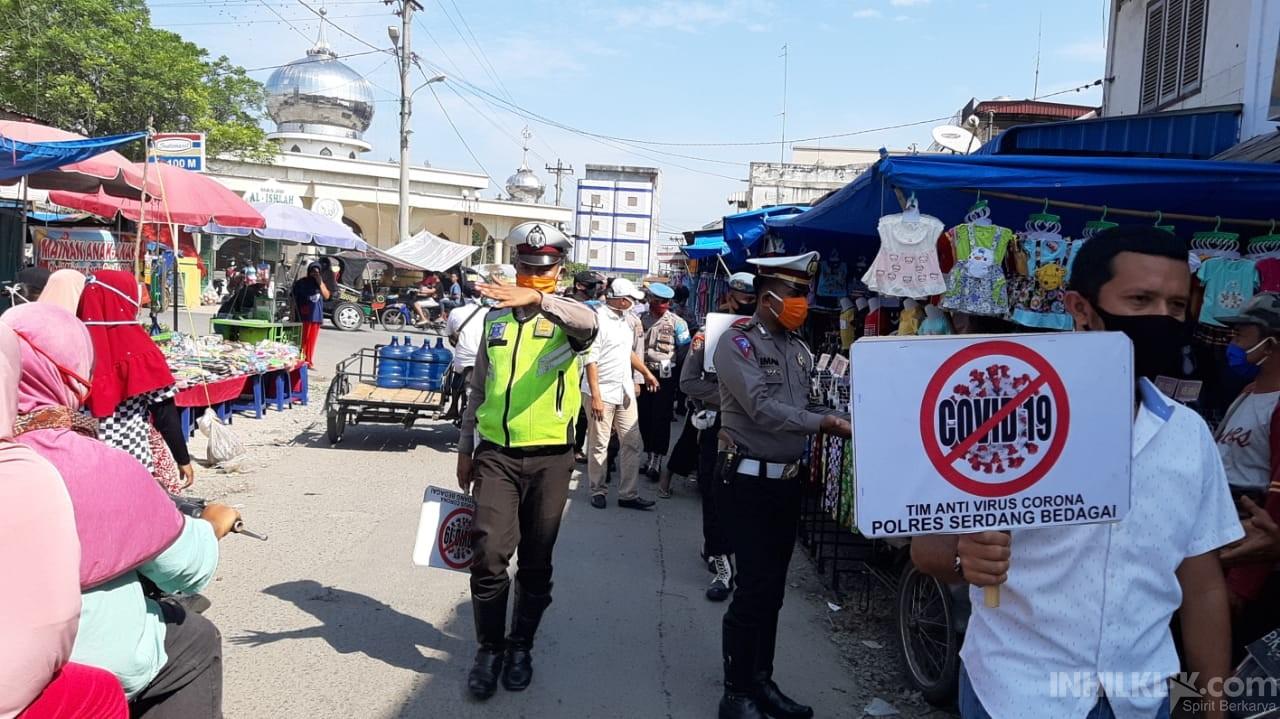 Unit Patroli Sat Lantas Polres Sergai Sosialisasikan Pencegahan Covid-19