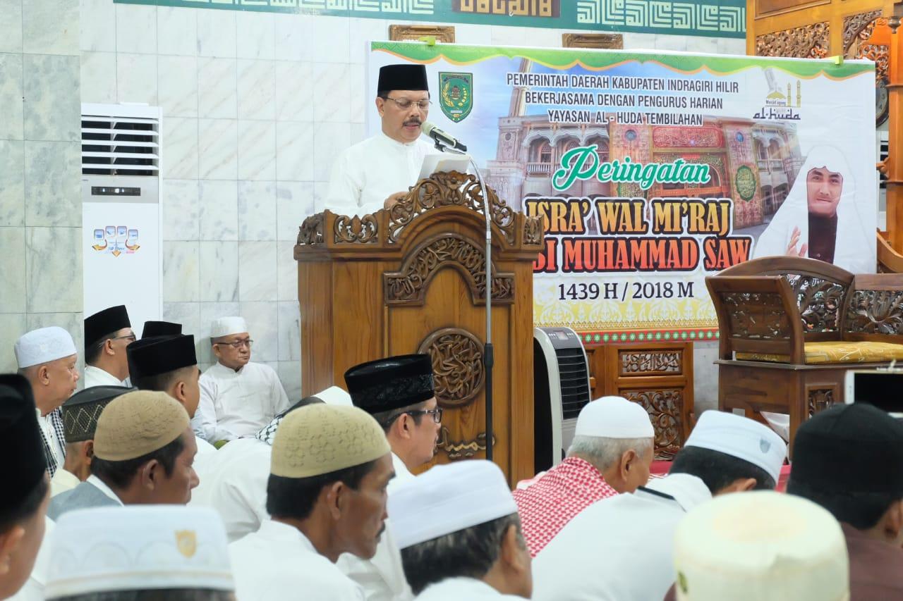 Said Syarifuddin Ikuti Isra' Mi'raj Nabi Muhammad SAW Di Masjid Al Huda, Tembilahan