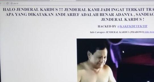 Situs Resmi PKS Dihack Gambar Prabowo Jenderal Kardus