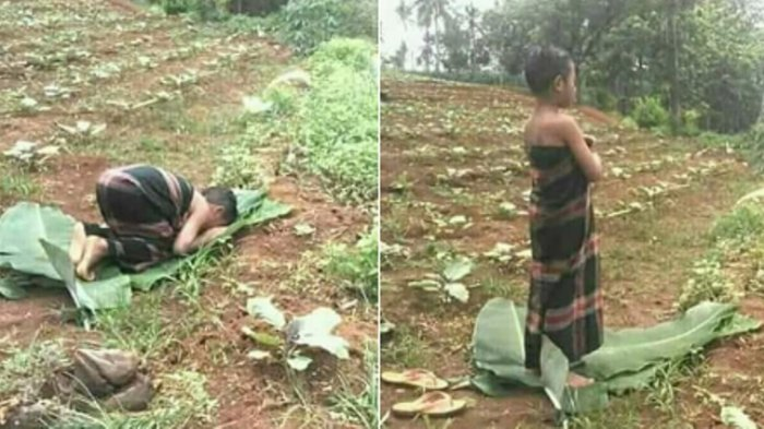 Cerita Pilu Dibalik Foto Bocah Tuban Jawa Timur Salat Beralas Daun Pisang, Warganet Sampai Haru