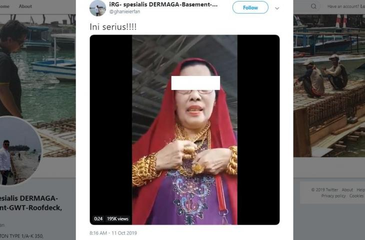 Emak-emak Pamer Pakai Emas Total Rp 2,8 Miliar, Netizen: Ginjalku Bergetar